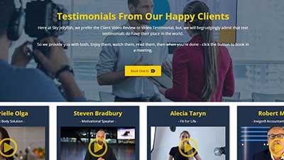 our happy clients page with video testimonials